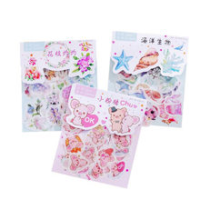 40pc/bag Kawaii Pig Marine Diary Sticker Cartoon Flowers Plants Transparent Sticke DIY Scrapbook Decoration Stickers Stationer(China)