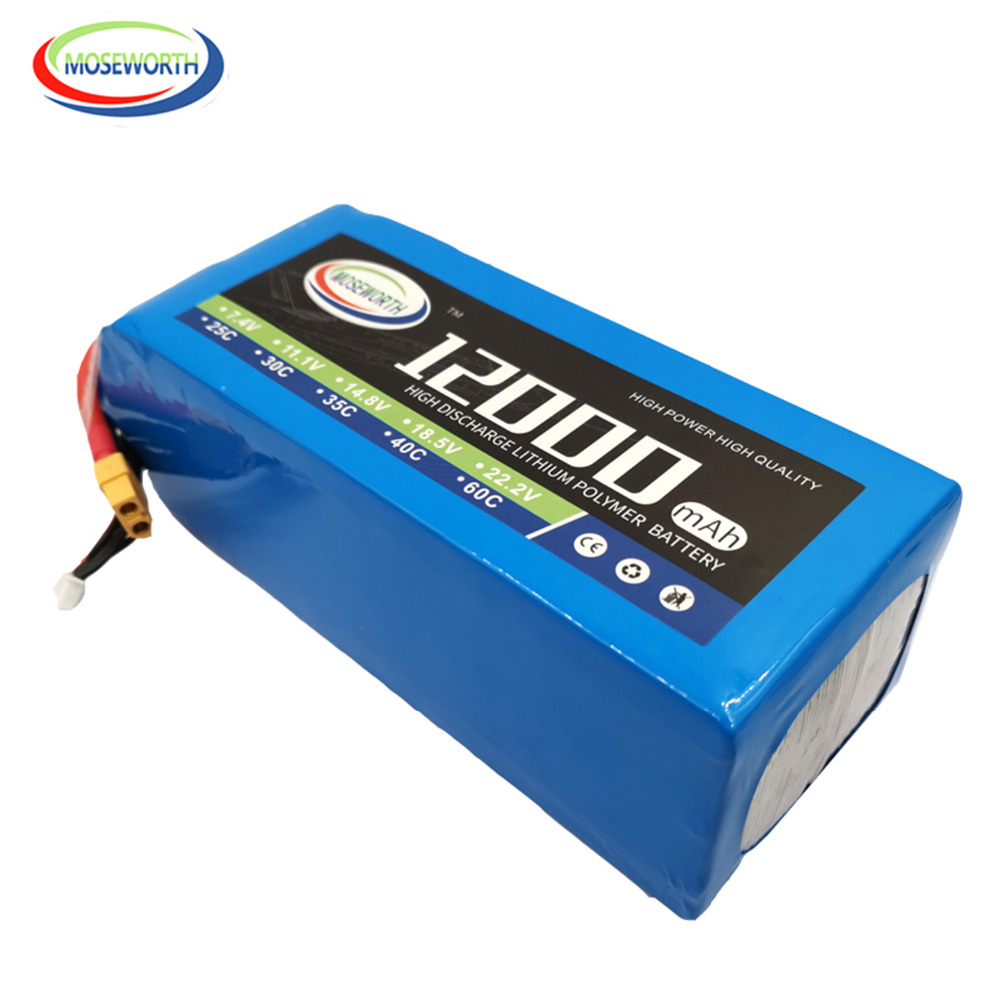 RC <font><b>Lipo</b></font> Battery 6S 22.2V <font><b>12000mAh</b></font> 30C For RC Quadcopter Drone Helicopter Airplane Boat RC Model Toy 6s Battery <font><b>LiPo</b></font> 22.2V 12A image