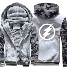 2019 New Autumn Winter Warm Jackets and Coats The Flash Thicked Hoodies Anime Camouflage sleeve Sweatshirts Men cardigan Tops