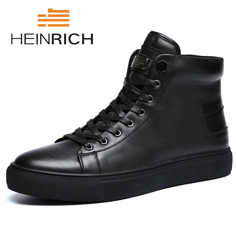 HEINRICH Spring/Autumn Genuine Leather Men Boots Handmade Super Warm Men Shoes High Quality Ankle Boots Scarpe Uomo Di Marca mycolen brand chelsea men boots genuine leather handsome retro boots men high top business leather shoes scarpe uomo di marca