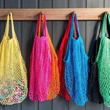 Большая сумка для покупок, многоразовая сумка для покупок с фруктами, Хлопковая Сумка-тоут, тканая Сетчатая Сумка