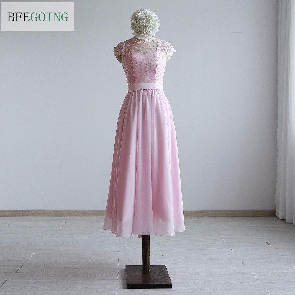 Simple Elegant Tea Length Chiffon Cap Sleeve Wedding: Pink Chiffon Lace A Line Formal Bridesmaid Dress Tea