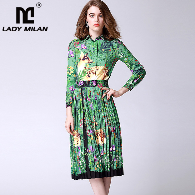 New Arrival Womens Turn Down Collar Long Sleeves Cartoons Printed Shirts with Pleated Fashion Two Piece Dresses Casual Sets