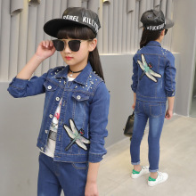 купить girl clothes 2019 new girls denim suit spring and autumn girls casual denim suit two-piece suit children sets дешево