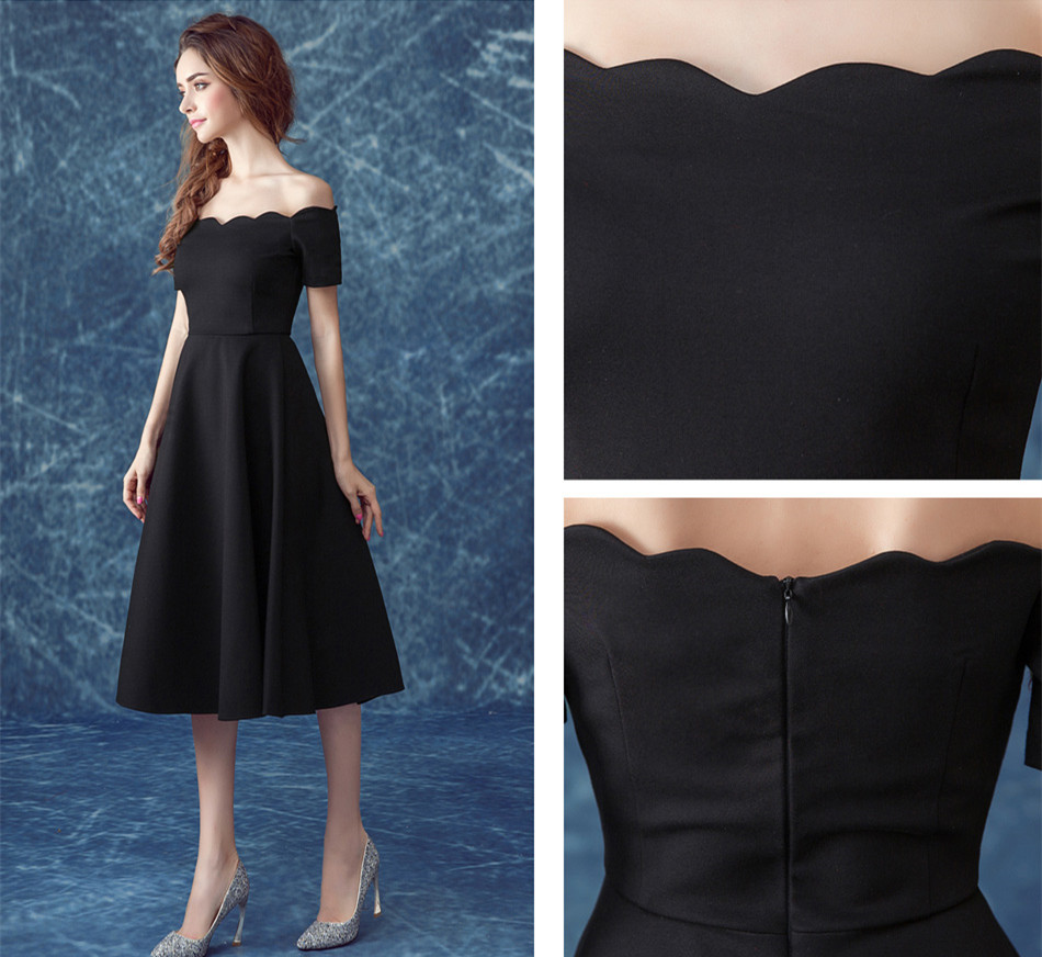 ruthshen Simple Little Black Prom Dresses Cheap Off Shoulder Draped ...