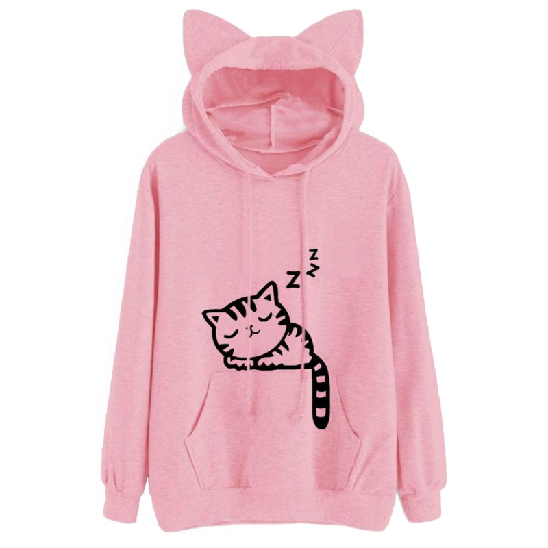 Cat Ear Printed Women Hooded Coat Sweatershirt Sleep Cat Printed Autumn Long Sleeve Pullovers Female Fashion Outwear Womens