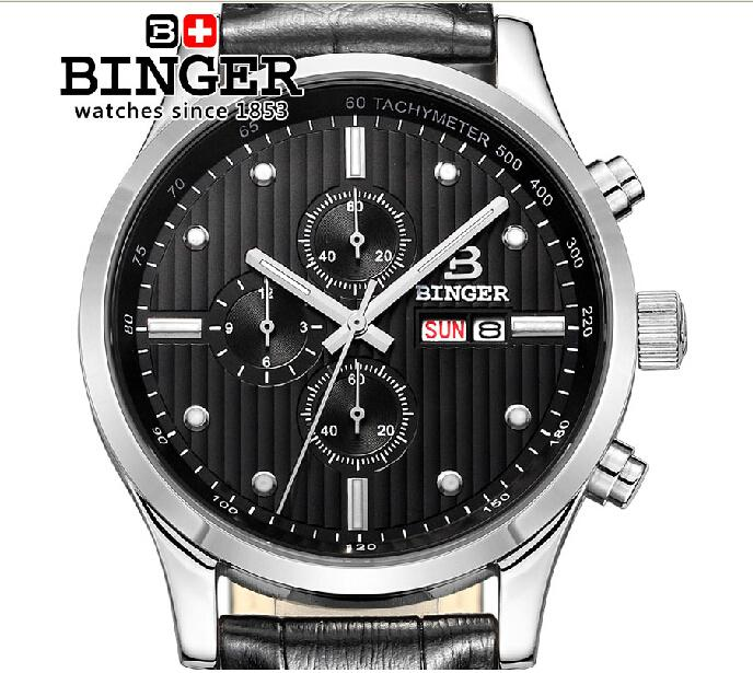 Switzerland men's watch luxury brand Wristwatches BINGER Quartz men watches leather strap steel waterproof 100M clock BG-0402-4 switzerland binger men s watches luxury brand quartz waterproof leather strap clock chronograph stop watch wristwatches b9202 8