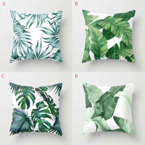 8 ชนิดหวานพืชเขตร้อน Rainforest สีเขียวใบนุ่มหมอนกรณีเบาะ Cover ตกแต่งบ้าน