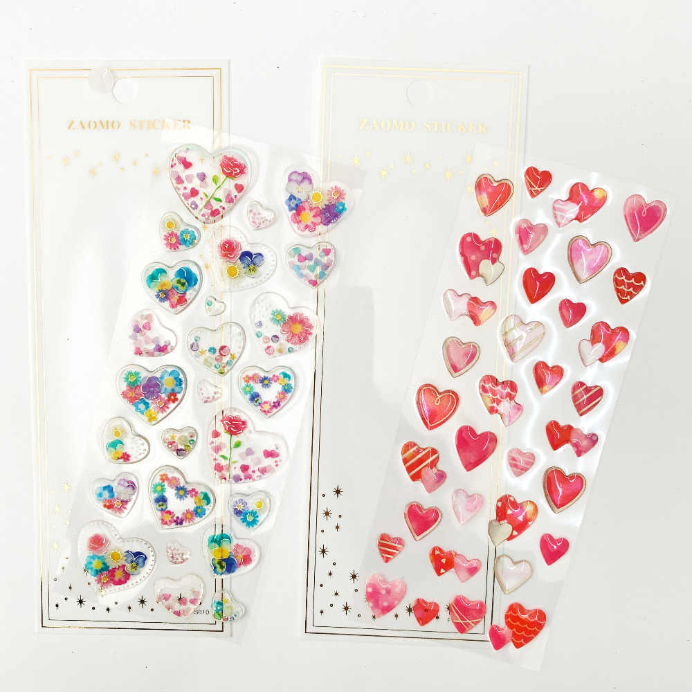 1 Sheet Lovely Heart Flowers In Heart Crystal DIY Stickers Decorative Scrapbooking Diary Album Stick Label Student Supply