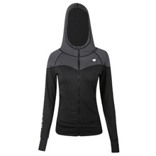 Hooded Women Running Jacket Thumb Hole And Zipper
