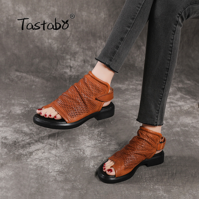 Tastabo Genuine Leather Ladies Sandals Openwork Flat Set Of Beach Shoes Yellow Black Color Summer Daily Sandals Wear-resistant