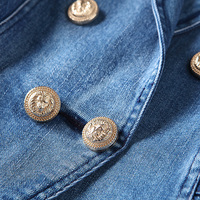 HIGH QUALITY New Fashion 2018 Designer Blazer Women's Metal Lion Buttons Double Breasted Denim Blazer Jacket Outer Coat 3