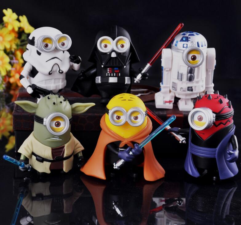 10cm 6pcs/lot Cute Style Minions Cosplay Star War Darth Vader & STORM Yoda TROOPER Action Figure Model Toys