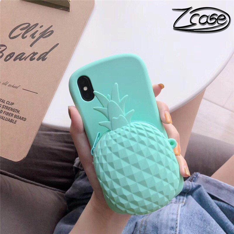 Cute Summer 3D Pineapple Mobile Wallet iPhone X XR XS Max 7 8 Plus Soft Silicone Case for iPhone 8 7 6 6S Plus Backshell in Wallet Cases from Cellphones Telecommunications