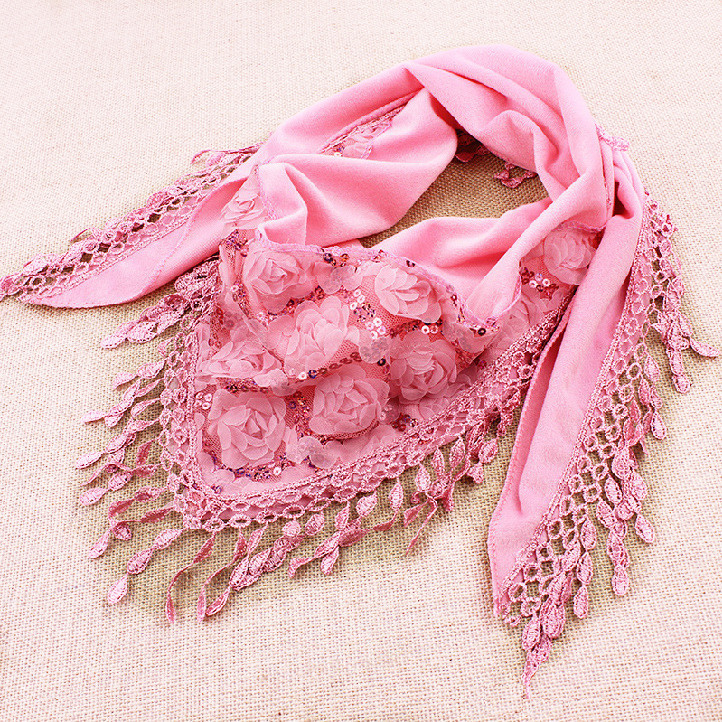 2014 New Fashion Thick Winter Scarf Rose Lace Triangle ...