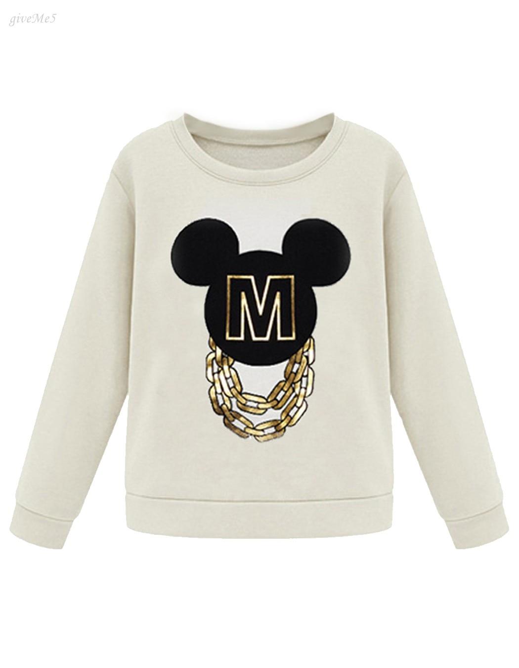 Women Cartoon Design Printing Pullover O-neck Loose Long Sleeve Hoodies Shirt Tops Hoodie Sweatershirts 34