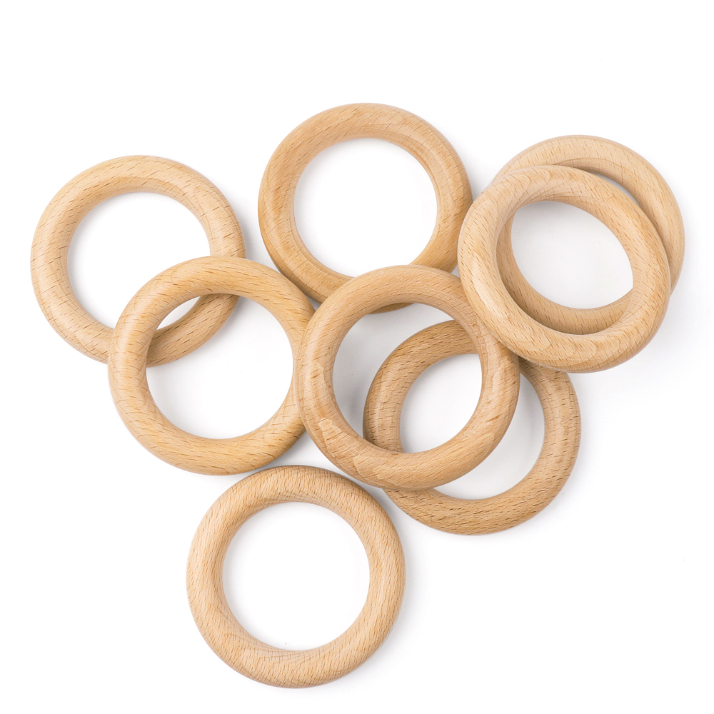 TYRY.HU 50Pcs 40mm/70mm Beech Wooden Teether Baby Teething Toy DIY Teething Nipple Chain Accessories Wooden Natural Wood Rings