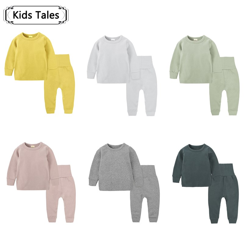 New Kids Girls   Pajamas     Sets   Boys Children   Pajamas   Infantil clothes Home Clothes Pure Color Cotton Baby suit ST323
