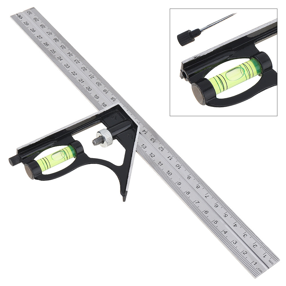 12 Inch 300mm Adjustable Stainless Steel Combination Square Angle Ruler 45/90 Degree Multifunctional Woodworking Measuring Tool