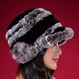 Image 4 - Factory Direct Hot Sale Caps For Women Real Rex Rabbit Fur Hats Genuine Knitted Rex Rabbit Fur Beanies Skullies DL6249