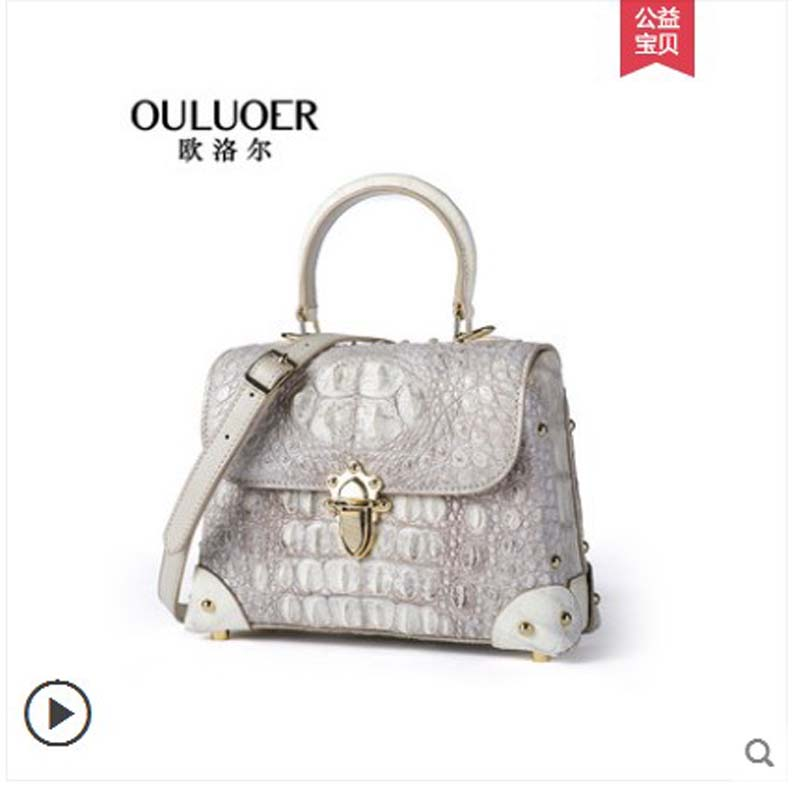 ouluoer New crocodile leather handbag imported from Thailand. It is a small cross-body bag with one shoulder handbag womenouluoer New crocodile leather handbag imported from Thailand. It is a small cross-body bag with one shoulder handbag women