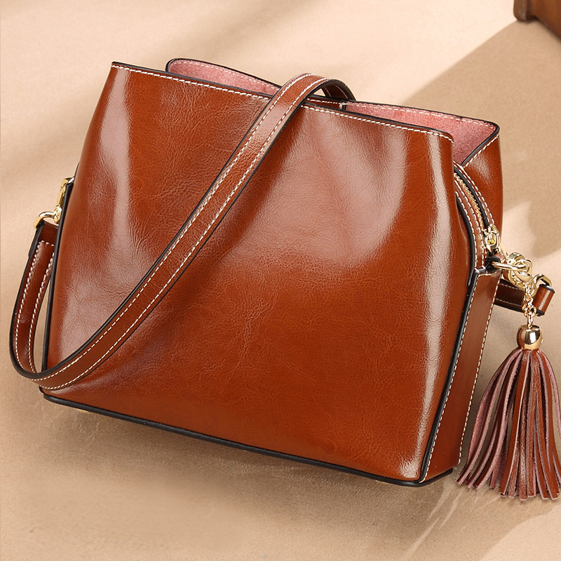 Tassel Women Messenger Bags Genuine Leather Women Designer Lady Handbags Small Bag Female Shoulder CrossBody Bag all match genuine leather women handbags designer tassel female shoulder bags rivet bag woman crossbody bag studs ladies