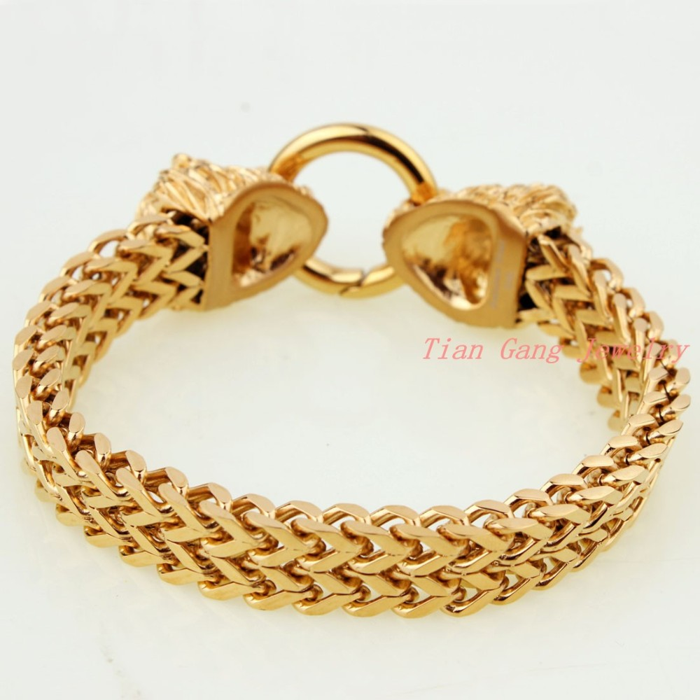 Wholesale Mens Boys Gold Chain Bracelet Stainless Steel Punk Bangle Men's Cool Vintage Jewellery Free Shipping