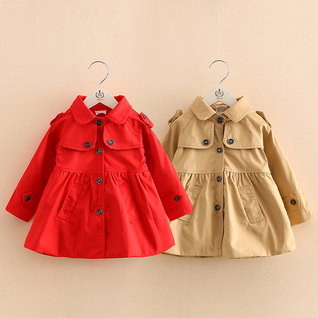 Fashion Kids Girls Trench Coat Red & Khaki Girls Jacket & outerwear Brand girls clothes