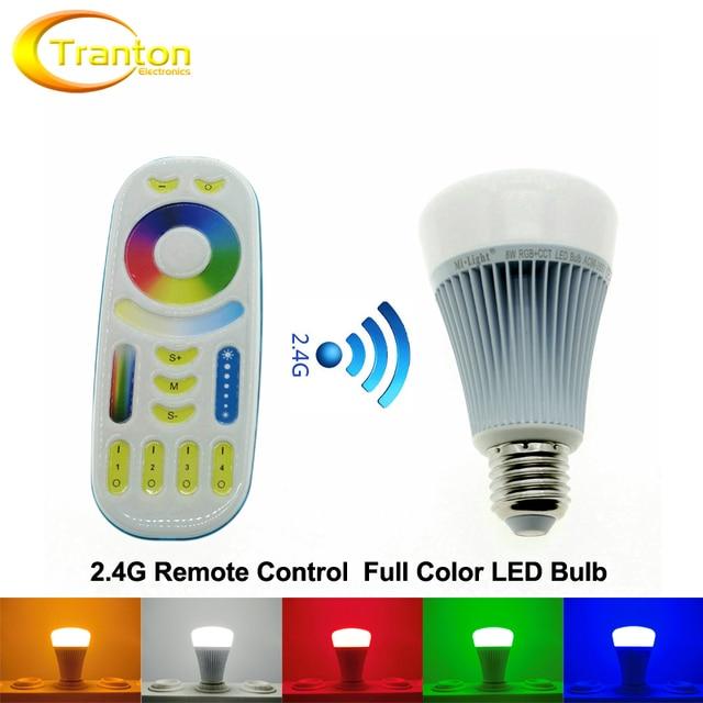 Mi.Light Full Color LED Bulb + RF 2.4G Touch Remote AC86-265V E27 8W RGB+WW+CW Remote Control LED Light.