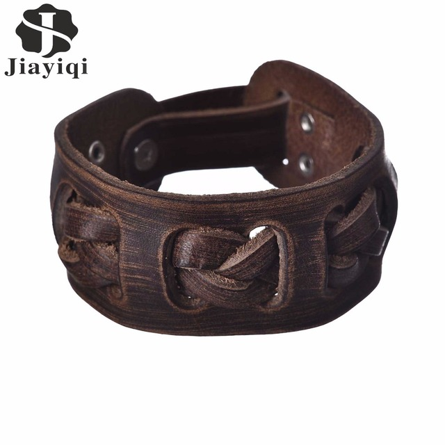Jiayiqi Brand Vintage Genuine Wide Leather Bracelet Men Fashion Punk Braid Cuff