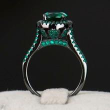 R & J 2016 Hight Quality 14KT Llenó el Anillo de Boda de Oro Negro Joyería de moda Negro 5A Verde Circón anillos Cristalinos Para Las Mujeres regalo