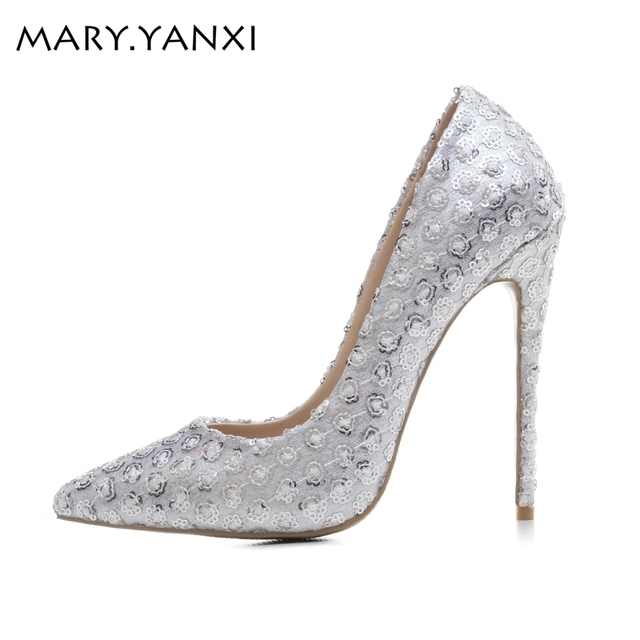 5928f7ce779 Sequined cloth women pumps super high heel sexy shoes Pointed Toe wedding  shoes women pumps Slip-On Elegant party wedding pumps