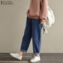 ZANZEA 2019 Summer Cotton Linen Pants Women Casual Loose Pockets Elastic Waist Harem Trouser Pantalon Femme Streetwear Plus Size