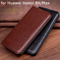 For Huawei Honor 8X Case Luxury Genuine Leather Phone Cover Free Tempered Glass Screen Protector for Huawei Honor 8X Max Skin