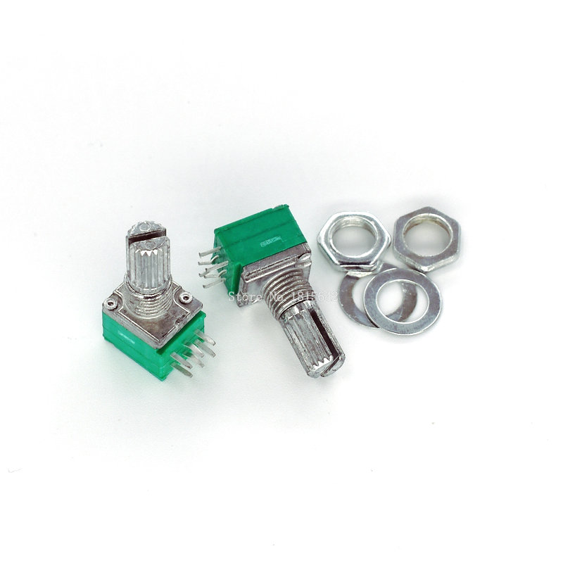 5 шт., уплотнительный потенциометр RK097G B5K B10K B20K B50K B100K 5K 10K 20K 50K 100K с переключателем, аудио 6pin, вал 15 мм, усилитель