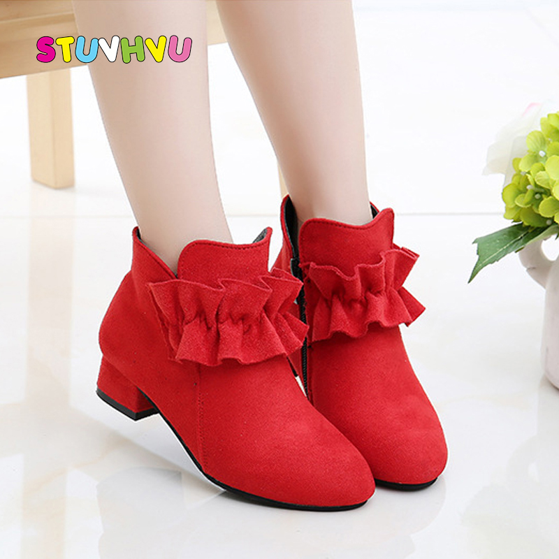 Fashion Girls Shoes Ankle Boots Warm Kids Shoes Autumn And Winter Children's Shoes Girl Boots Princess High Heels Black Red Pink