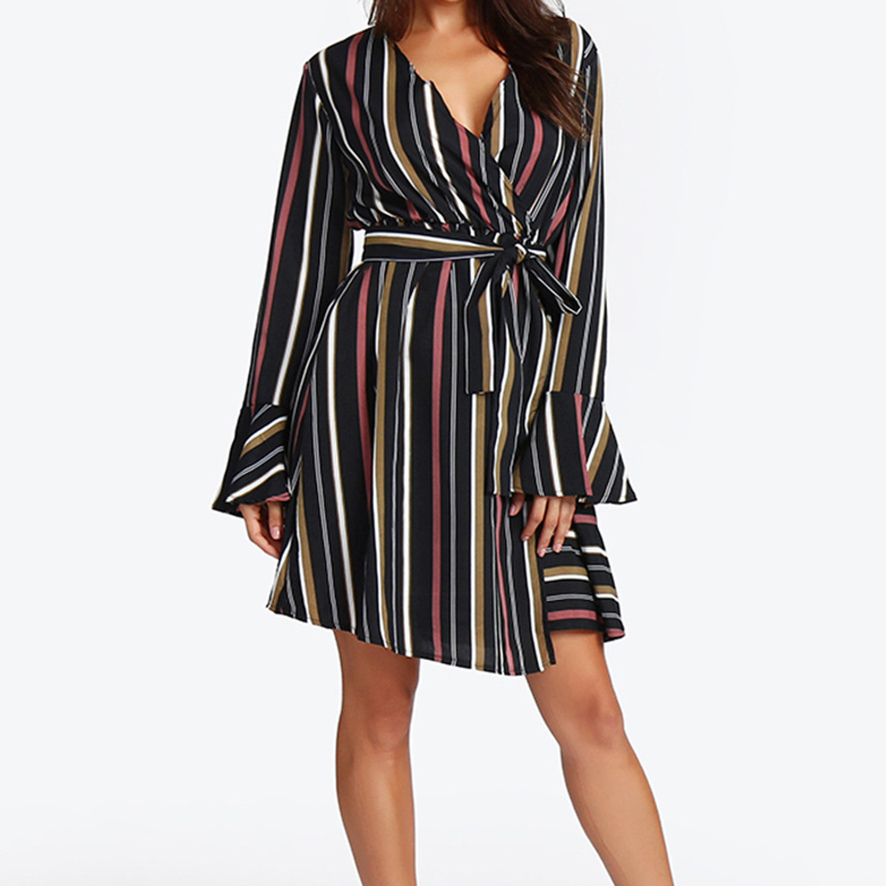Casual Striped Ruffle Autumn Women's Dress Sexy Female Fashion Long Sleeve plus size Dresses clothing vestidos mujer