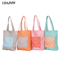 LDAJMW Waterproof Nylon Portable Foldable Shopping Bag Cartoon Handle Bags Travel Storage Reusable