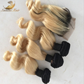 Natural Hair 1B 613 blondes hair Loose Wave Human Hair Bundles with free middle three part two tone lace closure