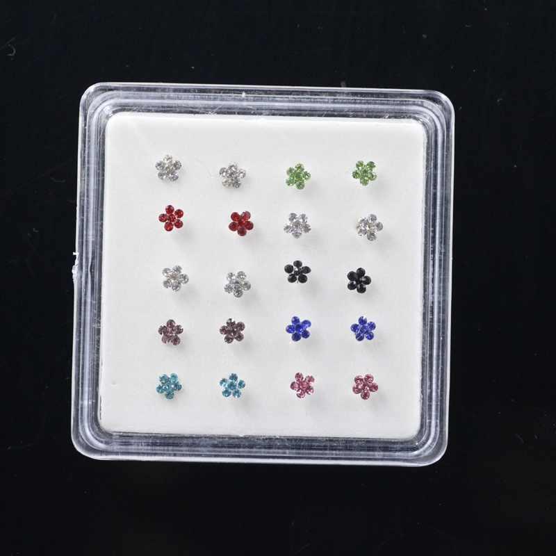 20PCS 925 סטרלינג כסף האף הרבעה נייל לנקב תכשיטי פרח מעוקב zirconia האף טבעת גוף תכשיטי תכשיטים סקסי