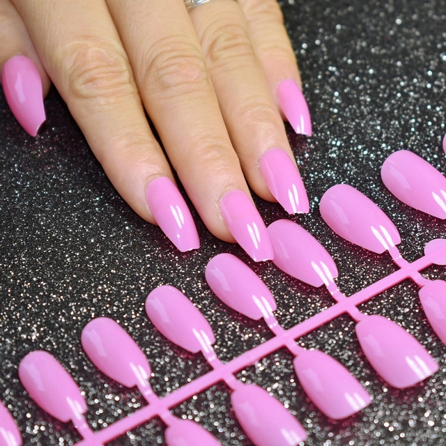 HOT Coffin False Nails Candy Purple Pink Ballerina Full Cover Fake ...