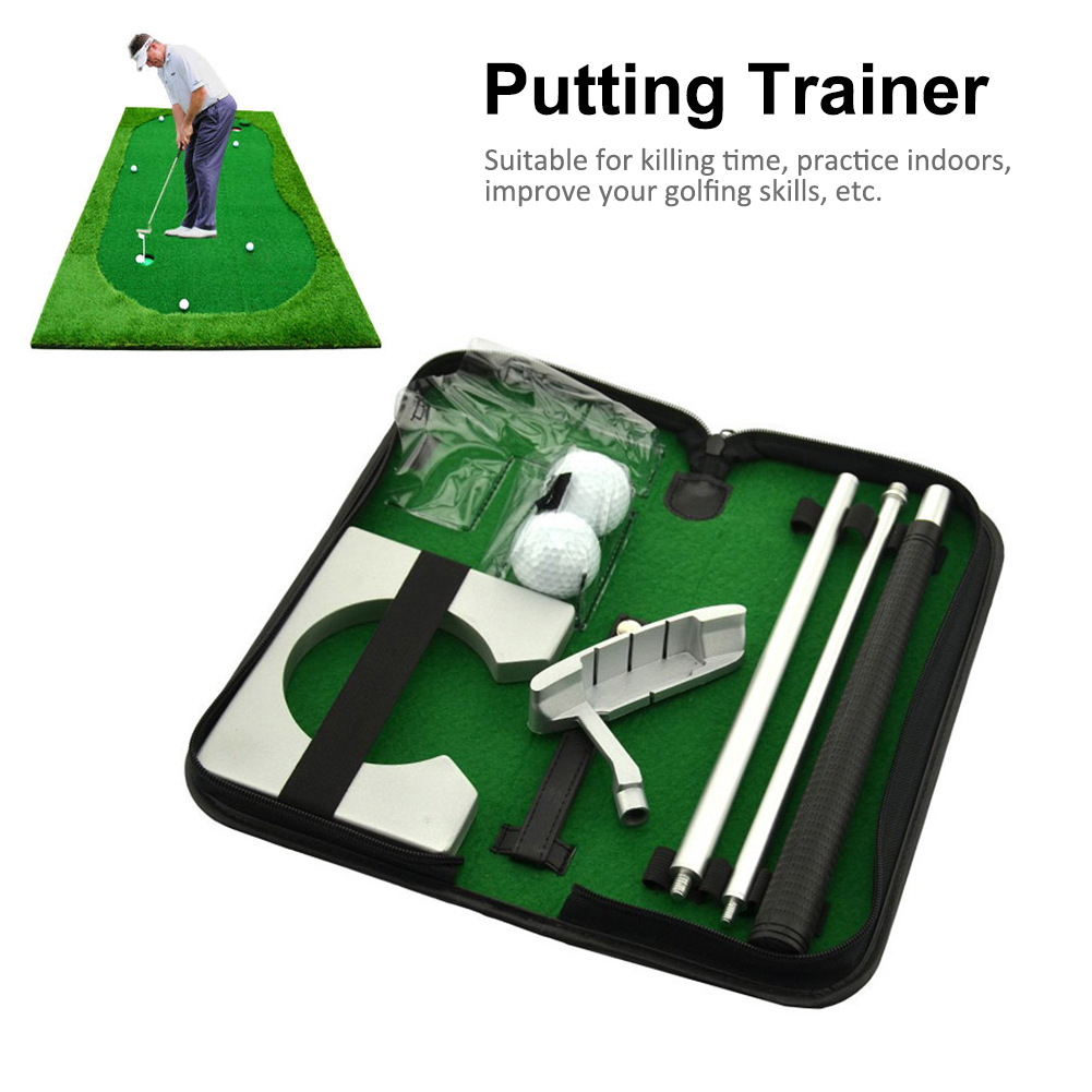 Portable Golf Putter Putting Trainer Set Indoor Training Equipment Golfs Ball Holder Training Aids Tool with Carry Case 12