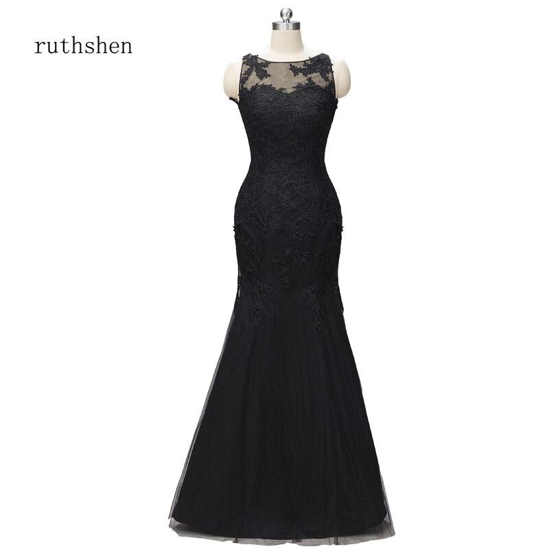 Ruthéshen mère de la mariée robes pour mariage dentelle marié mère soirée robes de grande taille noir longue robe de sirène 2019