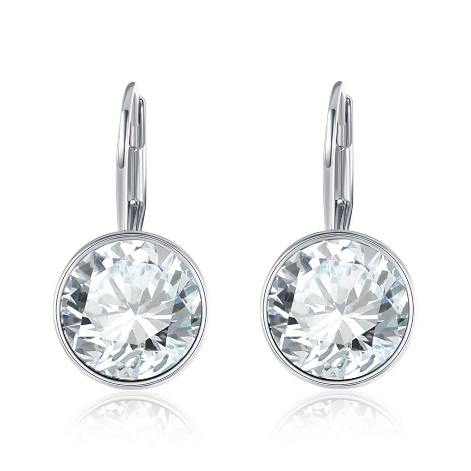100% Wahr Lekani Silber Bella Stud Ohrringe Für Frauen Weiß Kristall Von Swarovski Mode Ohrringe Hochzeit Büro Schmuck Geschenk Neue