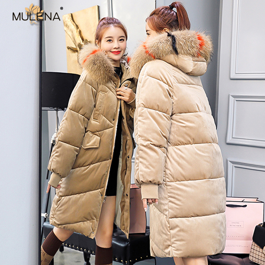 Mulena thick slim hairy collar hooded long   down     coat   women BF   down   cotton solid zipper pockets office lady outerwear warm winter