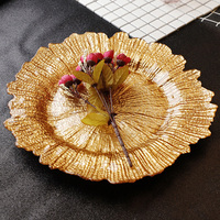 European gold rimmed glass pearl plate Western dish fruit plate salad plate tray salad plate fancy dish steak tableware