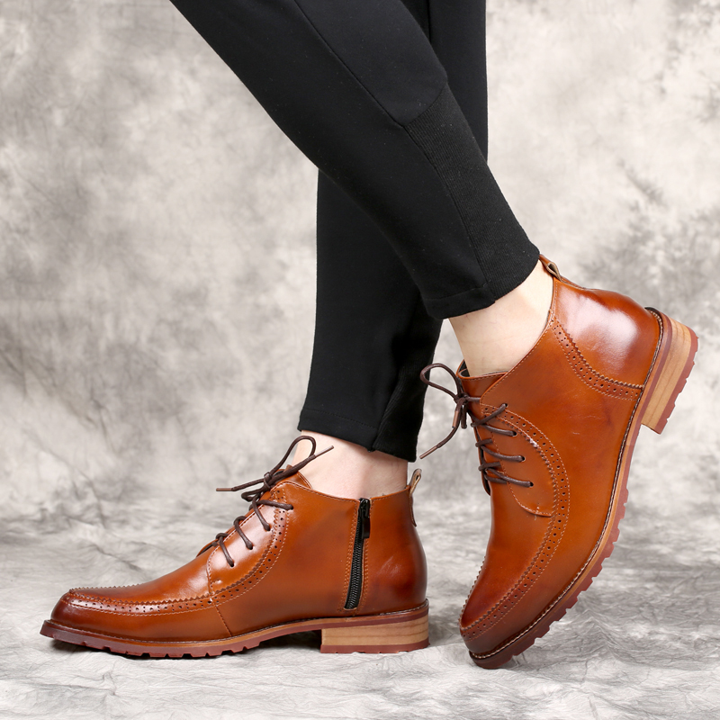 New arrival men oxfords flats genuine leather pointed toe brogues italian platform zipper casual dress wedding shoes size:38-43 plus size 2016 new formal brand genuine leather high heels pointed toe oxfords punk rock men s wolf print flats shoes fpt314