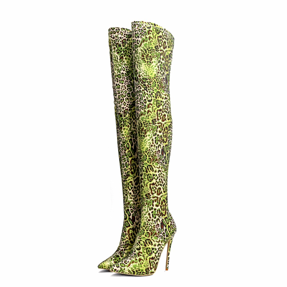 2018 European fashion high-heeled thigh boots Ms. sexy pointed knee show stretch printing large size 33-48 yards
