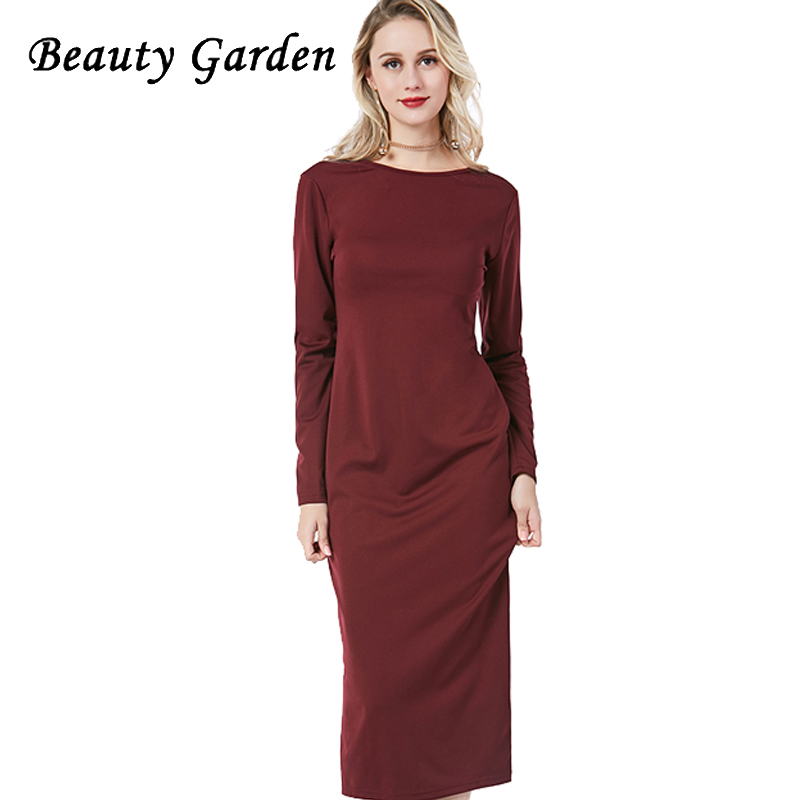 Beauty Garden Women Solid Dress Long Sleeve Zipper On Back Fashion Dress Female Knee-Length Sheath Sexy Dress