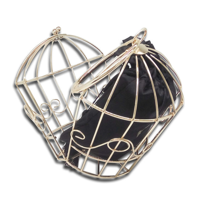 Golden Metal Bird Cage Fashion Women Evening Totes Bags Handbags Famous Brand Party Banquet Prom Clutch Bag With Inside Bag